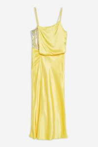 Topshop Yellow Embroidered Panel Satin Slip Dress | side slit cami frock