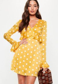Missguided yellow polka dot plunge frill tea dress