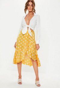 Missguided yellow polka dot wrap midi skirt