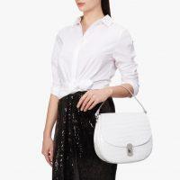 COCCINELLE Zaniah Croco Medium in Blanche | chic white crocodile embossed bags