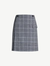 ACNE STUDIOS Ivonne checked cotton-blend mini skirt in navy / blue check print wrap skirts