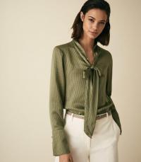 ADELINE BURNOUT DETAIL BLOUSE KHAKI ~ green draped neck tie blouses