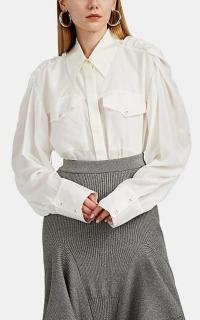 AKIRA NAKA Drawstring Silk Crepe Blouse in White ~ ruched shoulder shirt