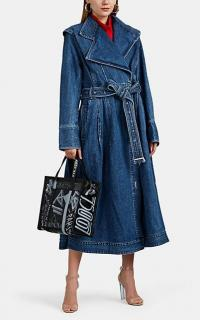 AKIRA NAKA Kamishimo Denim Coat in blue stonewash ~ modern classics belted wrap coats