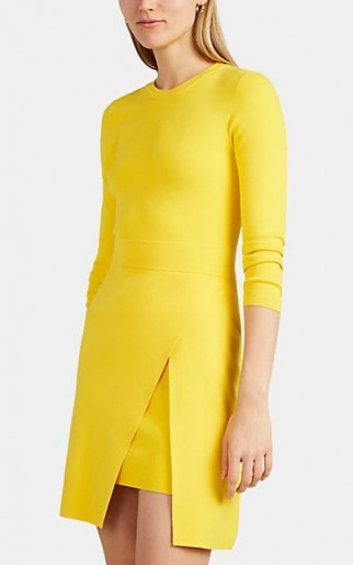 A.L.C. Hadley Wrap-Effect Sweaterdress in yellow ~ rib-knit sweater dresses