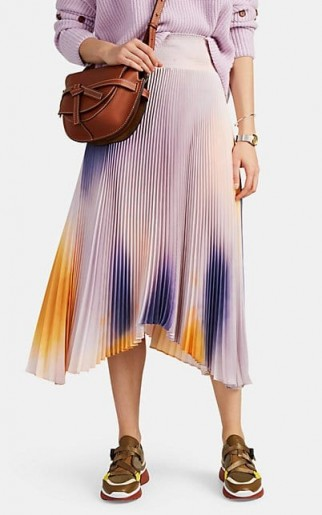 A.L.C. Sonali Tie-Dyed Plissé Skirt in purple and orange ~ pleated asymmetric hemline skirts