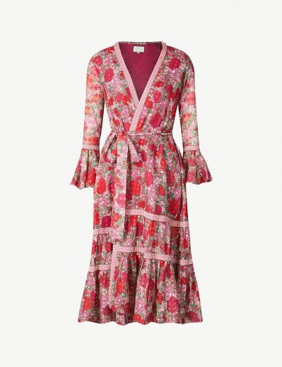 ALEXIS Marcas floral-print cotton dress in fuchsia / wrap dresses - flipped