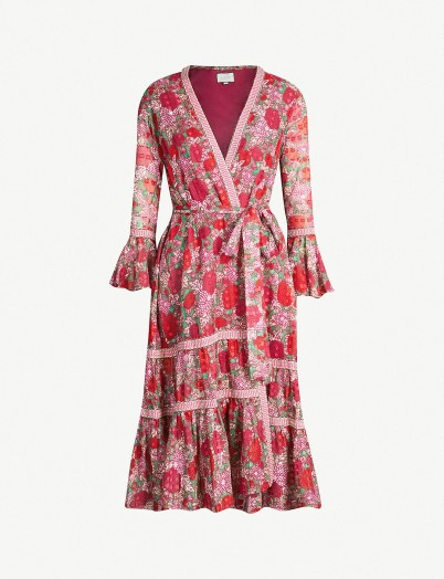 ALEXIS Marcas floral-print cotton dress in fuchsia / wrap dresses
