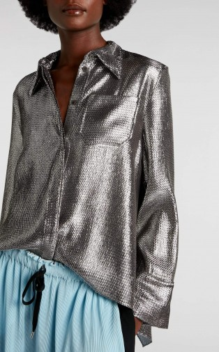 ROLAND MOURET ALGAR TOP in SILVER ~ open back metallic shirt