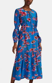 ALICE ARCHER Ismene Floral Silk Tiered Maxi Dress in Blue