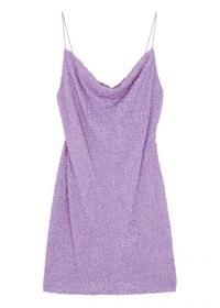 ALICE + OLIVIA Harmie lilac sequinned mini dress ~ skinny strap cowl neck slip dresses