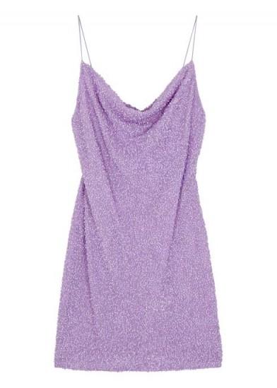 ALICE + OLIVIA Harmie lilac sequinned mini dress ~ skinny strap cowl neck slip dresses