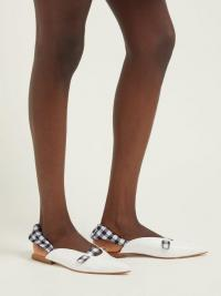 DODO BAR OR Alonso gingham-slingback leather flats in white | flat slingbacks