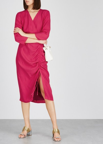ALTUZARRA Oriana raspberry ruched dress ~ drawstring gathered ruching