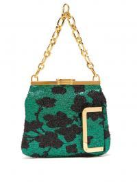 BIENEN-DAVIS 5AM floral lamé clutch in green / vintage look evening bags