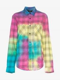 Amiri Rainbow Tie Dye Plaid Cotton Shirt / checked shirts