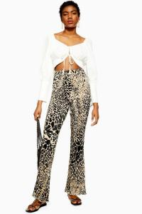 TOPSHOP Animal Print Plisse Flares / flared trousers