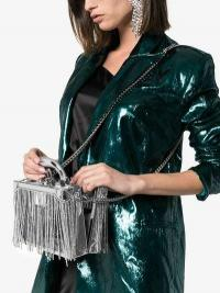 Area Ling Ling Crystal Fringing Box Bag in Silver
