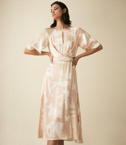 REISS ARLO HALF SLEEVE PRINTED MIDI DRESS PINK ~ draped front dresses