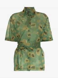 Asai Camo Gleam Sheer Strap Shirt / green camouflage fashion