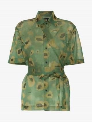 Asai Camo Gleam Sheer Strap Shirt / green camouflage fashion - flipped