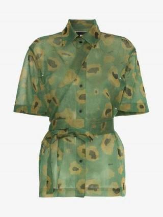 Asai Camo Gleam Sheer Strap Shirt / green camouflage fashion