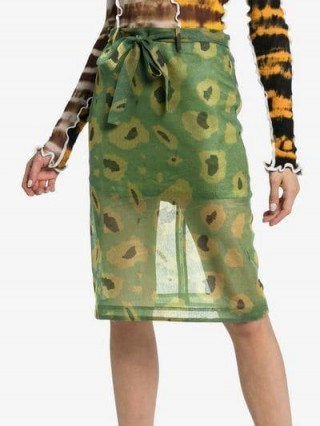 Asai Ghost Camo Print Cotton Pencil Skirt in green / semi sheer camouflage printed fabric - flipped