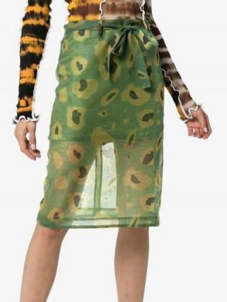 Asai Ghost Camo Print Cotton Pencil Skirt in green / semi sheer camouflage printed fabric
