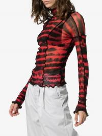 Asai Hot Wok Patchwork Tie-Dye Top in red and black
