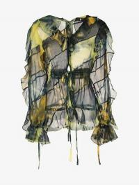 Asai Ruffle Detail Tie Dye Top in black, yellow and green