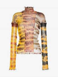 Asai Sheer Tie-Dye Stretch Top / fitted high neck tops