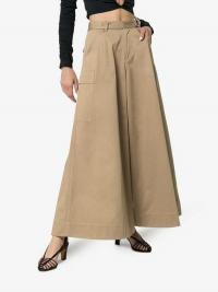 Asai Wide Leg Cotton Cargo Trousers in brown