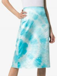 Ashley Williams Tie Dye Silk Pencil Skirt in blue and white