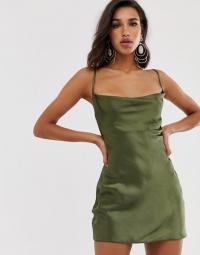 ASOS DESIGN cami mini slip dress in high shine satin with strappy back in khaki | green skinny strap dresses