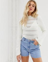 ASOS DESIGN flared sleeve stitch detail jumper in white | frill neck sweater