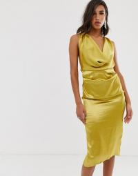 ASOS DESIGN midi dress with drape cowl neck in high shine satin in chartreuse
