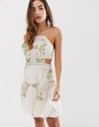 ASOS DESIGN mini dress in floral sequin with flippy skirt in cream – strappy party dresses