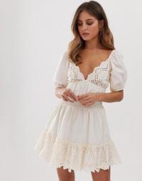 ASOS DESIGN sweetheart broderie mini dress with elasticated waist in cream | feminine deep V-neck frock