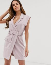 ASOS DESIGN utility tux belted mini dress Lilac