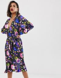 ASOS EDITION embellished printed midi dress | sequin and beaded plunge front frock
