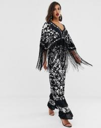 ASOS EDITION embroidered jumpsuit with fringe in black | boho glamour