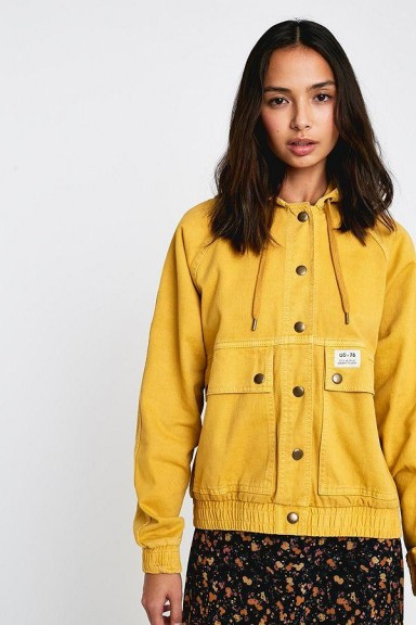 BDG Rowan Hooded Bomber Jacket in Yellow | casual style jackets