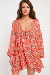 MINKPINK Delilah Floral Babydoll Mini Dress Orange Multi | plunging boho dresses | summer festival fashion