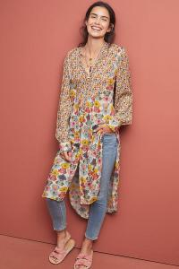 Bl-nk Lucia Tunic Blouse NEUTRAL MOTIF. LONG MULTI-PRINT TUNICS