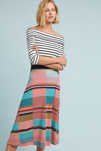 Aldomartins Colourblocked Sweater Skirt BLUE MOTIF. MULTI-STRIPES