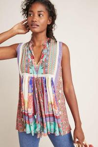 Bhanuni by Jyoti Sleeveless Peasant Top PURPLE MOTIF. COLOURFUL MULTI-PRINT TOPS