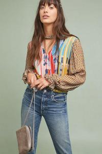 Conditions Apply Retro Peasant Blouse. MIXED PRINT CHOKER NECK BLOUSES