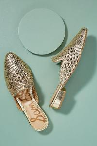 Sam Edelman Clara Woven-Leather Slip-on Flats GOLD. FLAT METALLIC MULES
