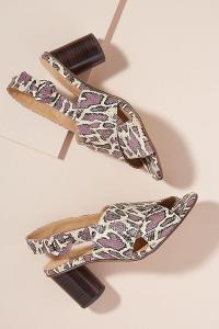 Lelo Snake-Effect Leather Heels in PURPLE MOTIF at ANTHROPOLOGIE. REPTILE PRINTS