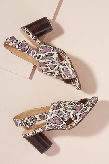 Lelo Snake-Effect Leather Heels in PURPLE MOTIF at ANTHROPOLOGIE. REPTILE PRINTS
